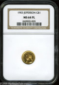 Commemorative Gold: , 1903 G$1 Louisiana Purchase/Jefferson MS64 Prooflike NGC. Stunningprooflike example with watery mirrored surfaces. Light w...