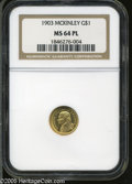 Commemorative Gold: , 1903 G$1 Louisiana Purchase/Jefferson MS64 Prooflike NGC. Sharplystruck and lustrous, with deeply reflective Prooflike fie...