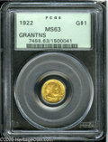 Commemorative Gold: , 1922 G$1 Grant no Star MS63 PCGS. Radiant apricot-gold colorensures the originality of this well preserved gold commemorat...
