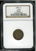 Patterns: , 1858 P1C Indian Cent, Judd-208, Pollock-259, R.1, PR62 NGC. TheIndian Head Cent design, as adopted in 1859, here with a ce...
