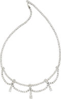 Estate Jewelry:Necklaces, Diamond, Platinum Convertible Necklace. ...
