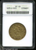 Liberty Eagles: , 1870-S $10 XF40 ANACS. A challenging, conditionally rare issue fromSan Francisco. A mere 8,000 pieces were struck of the '...