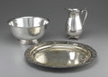 Miscellaneous: , SILVERPLATE PUNCH BOWL, TRAY AND PITCHER. Pitcher marked to baseW.M. Rogers, 817, punchbowl marked to base Crescent...(Total: 3 )