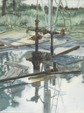 Fine Art - Painting, American:Contemporary   (1950 to present)  , M. FIELDS (American, Late Twentieth Century). One of a group ofthree: Flooded Oil Derrick. Watercolor. Signed to lower ...