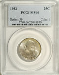 Washington Quarters: , 1932 25C MS66 PCGS. Partial peripheral toning on both sides coverssome areas in thick peach patina. A satiny and well stru...