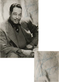 "Music Memorabilia:Autographs and Signed Items, Duke Ellington Signed Photo. a b&w 5"" x 7"" photo of DukeEllington signed by him in blue ink, matted and framed to anoveral..."