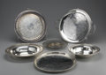 Miscellaneous: , GROUP OF ELEVEN SILVER PLATE TRAYS AND PLATTERS. Some with engraved designs, one with double handles, most marked to base:... (Total: 11 )