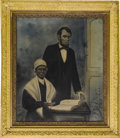 """Political:Posters & Broadsides (1896-present), Abraham Lincoln: An Impressive Large Pastel Portrait with an OldSlave Woman. While this work is signed """"J. M. Griffin, Detr..."""