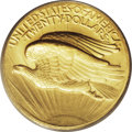 High Relief Double Eagles: , 1907 $20 High Relief, Wire Rim MS64 PCGS. This sharply detailedHigh Relief Saint-Gaudens double eagle is the Wire Rim vari...