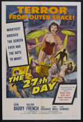 """Movie Posters:Science Fiction, The 27th Day (Columbia, 1957). One Sheet (27"""" X 41""""). Science Fiction. Starring Gene Barry, Valerie French, George Voskovec,..."""