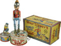 """Antiques:Toys, Marx Walt Disney's Donald Duck Duet Wind-up Toy in OriginalBox.. Tin litho, 10.25"""" tall, Marx maker's mark on both ..."""