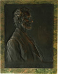 """Political:3D & Other Display (1896-present), Victor D. Brenner 1907-Dated Bronze High-Relief Lincoln Plaque mounted on marble. The significance of this 7"""" x 9.5"""" plaque ..."""