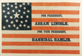 "Political:Textile Display (pre-1896), Classic 1860 Lincoln & Hamlin Campaign Flag. Glazed cotton, 17""x 11.25"", framed under glass to an overall size of 20.25"" x ..."