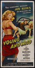"Movie Posters:Drama, Young and Wild (Republic, 1958). Three Sheet (41"" X 81""). Crime Drama. Starring Gene Evans, Scott Marlowe, Carolyn Kearney a..."