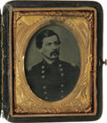 """Photography:Ambrotypes, George B. McClellan 1/9th Plate Ambrotype in Case. A larger-than-life figure to be sure, """"Little Mac"""" was one of the most ce..."""