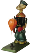 "Antiques:Toys, J. Chein & Company Boxing Popeye Wind-up Toy.. Tinlitho, 7.5"" tall, Chein mark on back of Popeye's leg, copyright ..."