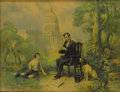 """Political:Posters & Broadsides (1896-present), Beautiful, Unusual Framed Color Print of Lincoln with Boy and Dog.Measures 20.75"""" x 15.75"""", framed to an overall size of 22..."""