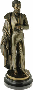"""Political:3D & Other Display (pre-1896), Metal Statue of Lincoln Holding Emancipation Proclamation. Platedcast metal, on black metal base, 22"""" tall, no artist or fo..."""