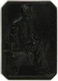 """Political:3D & Other Display (pre-1896), Abraham Lincoln Iron Paperweight. A 3.25"""" x 4.5"""" rectangular (with cut corners) scene of Lincoln sitting on a bench next to ..."""