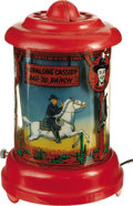 "Antiques:Toys, Hopalong Cassidy Bar-20 Ranch Revolving Lamp. Lamp has adiameter of 6"" and stands 9.25"" tall. Lamp is very good wit..."