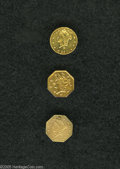 California Fractional Gold: , 1871 25C Liberty Octagonal 25 Cents, BG-770, R.6, AU50 MountRemoved Uncertified, harshly cleaned; 1871 Liberty Round 25 C... (3Coins)