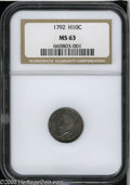Early Half Dimes: , 1792 H10C Half Disme, Judd-7, Pollock-7, R.4, MS63 NGC. In July of1792 high-ranking members of the United States governmen...