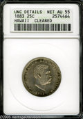 Coins of Hawaii: , 1883 25C Hawaii Quarter AU55--Cleaned--ANACS, UNC Details....