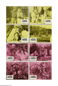 "The African Queen (United Artists, R-1975). Spanish Lobby Card Set of 8 (11"" X 14""). Humphrey Bogart's only Os..."