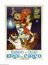 """The Chimp (MGM, R-1960s). Italian 2-Foglio (39"""" X 55""""). Laurel and Hardy get a chimp when the circus they were..."""