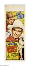 """Movie Posters:Western, Melody Ranch (Republic, 1940). Australian Daybill (15"""" X 40""""). GeneAutry returns to his hometown and fights his longtime ri..."""