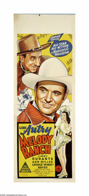 "Melody Ranch (Republic, 1940). Australian Daybill (15"" X 40""). Gene Autry returns to his hometown and fights h..."