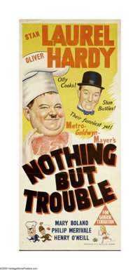 "Nothing But Trouble (MGM, 1944). Australian Daybill (13"" X 30""). Stan Laurel and Oliver Hardy had been working..."