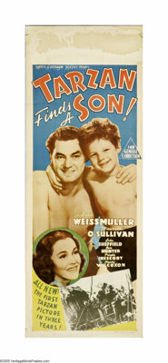 """Tarzan Finds a Son! (MGM, 1939). Australian Daybill (15"""" X 40""""). Since the censors wouldn't let Jane get pregn..."""