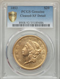 Liberty Double Eagles, 1853 $20 -- Cleaned -- PCGS Genuine Secure. XF Details. NGC Census: (47/1197 and 0/5+). PCGS Population: (110/707 and 0/2+)...