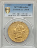 Liberty Double Eagles, 1851 $20 -- Cleaned -- PCGS Genuine Secure. AU Details. NGC Census: (137/619 and 0/2+). PCGS Population: (95/343 and 0/3+)....