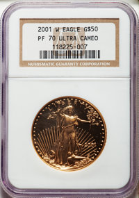 2001-W $50 One-Ounce Gold Eagle PR70 Ultra Cameo NGC. NGC Census: (644). PCGS Population: (154). Mintage 24,555. ...(PCG...