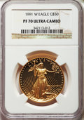 1991-W $50 One-Ounce Gold Eagle PR70 Ultra Cameo NGC. NGC Census: (1057). PCGS Population: (203). Mintage 50,411. ...(PC...