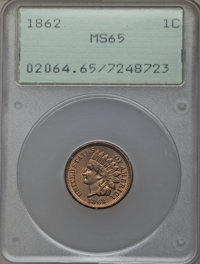 1862 1C MS65 PCGS. PCGS Population: (274/102). NGC Census: (188/40). CDN: $850 Whsle. Bid for problem-free NGC/PCGS MS65...