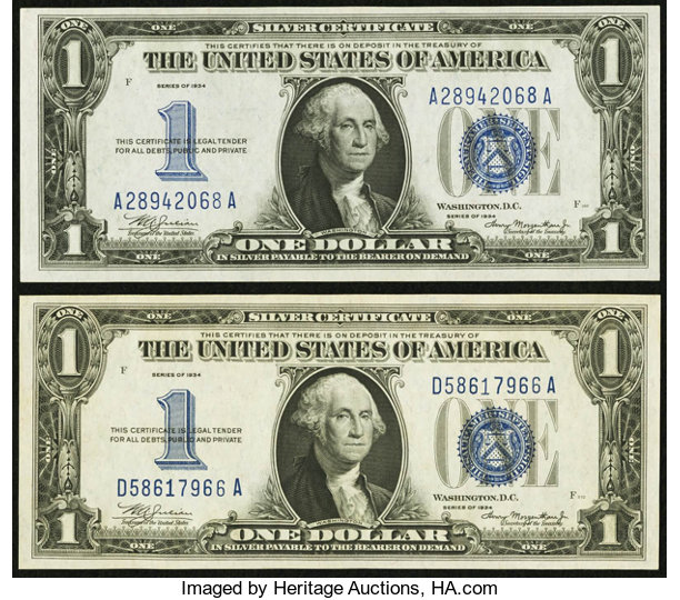Fr 1606 1 1934 Silver Certificates Two Examples Choice Lot