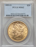 Liberty Double Eagles: , 1893-S $20 MS62 PCGS. PCGS Population: (1892/769). NGC Census: (1832/336). CDN: $1,500 Whsle. Bid for problem-free NGC/PCGS...