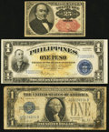 Fractional Currency, Fr. 1309 25¢ Fifth Issue Very Fine;. Fr. 1602 $1 1928B SilverCertificate. Very Good;. Philippines Victory Issue 1 P... (Total: 3notes)