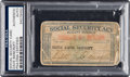 Autographs:Bats, 1950's Dave Bancroft Signed Social Security Card from The Dave Bancroft Collection, PSA/DNA Authentic.. ...