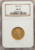Liberty Half Eagles, 1839 $5 AU53 NGC....