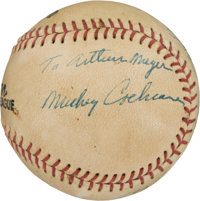 1940's Mickey Cochrane Single Signed Career Timeline Baseball, PSA/DNA NM 7 - Highest Graded Exemplar!