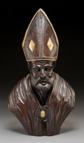 Decorative Arts, Continental, A Continental Carved Wood Ecclesiastical Bust of a Bishop, 18thcentury. 21-3/4 h x 11-3/4 w x 7-1/2 d inches (55.2...