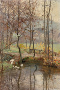 Fine Art - Painting, European, Franz Grassel (German, 1861-1931). Enten am Ufer, 1893. Oilon canvas. 30-3/4 x 20-1/2 inches (78.1 x 52.1 cm). Signed a...
