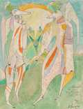 Works on Paper, Mihail Chemiakin (Russian, b. 1943). Untitled, 1974. Watercolor, ink, and crayon on paper. 12 x 9-1/2 inches (30.5 x 24....