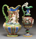 Ceramics & Porcelain, Two Minton Majolica Figural Vases, circa 1875. Marks: MINTON, (date cipher); MINTONS (various). 13 inches high (33.0... (Total: 2 Items)