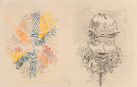 Larry Rivers (American, 1923-2002) Nigeria Yesterday and Today, 1976 Graphite, color pencil, and car