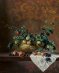 Fine Art - Painting, American, Joan Potter (American, b. 1935). Still Life with Apples. Oilon canvas. 30 x 24 inches (76.2 x 61.0 cm). Signed lower le...